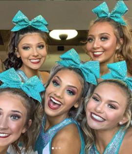 Plum Aqua Palette Senior elite cheerleading makeup